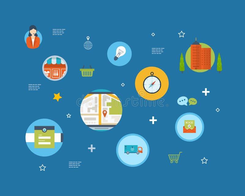 Set of Flat Style Icons. Online marketing, custom stock illustration