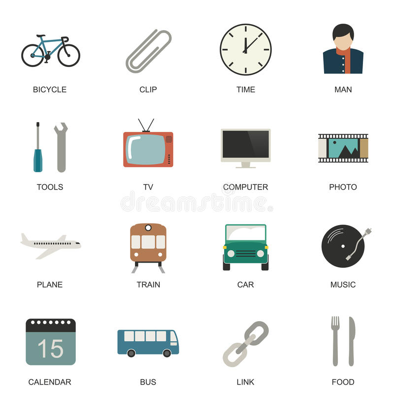 Set of flat style icons. Set of Universal flat icons for Transport, Business and Social media royalty free illustration
