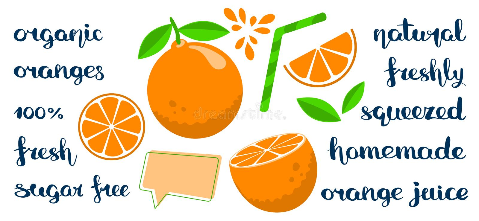 Set with flat style oranges. A set of cut and whole oranges with handwritten fruit-related marketing descriptions. Flat style editable vector illustration with vector illustration