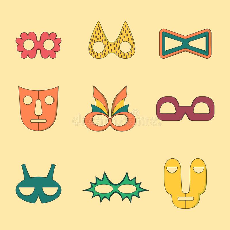 Set of Flat Style Outlined Masks without Handles stock illustration