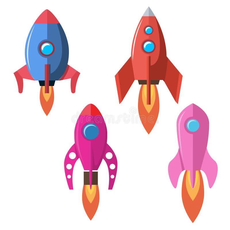 Set of flat style rocket illustrations isolated on white background. Design element for banner, emblem, motion design. vector illustration