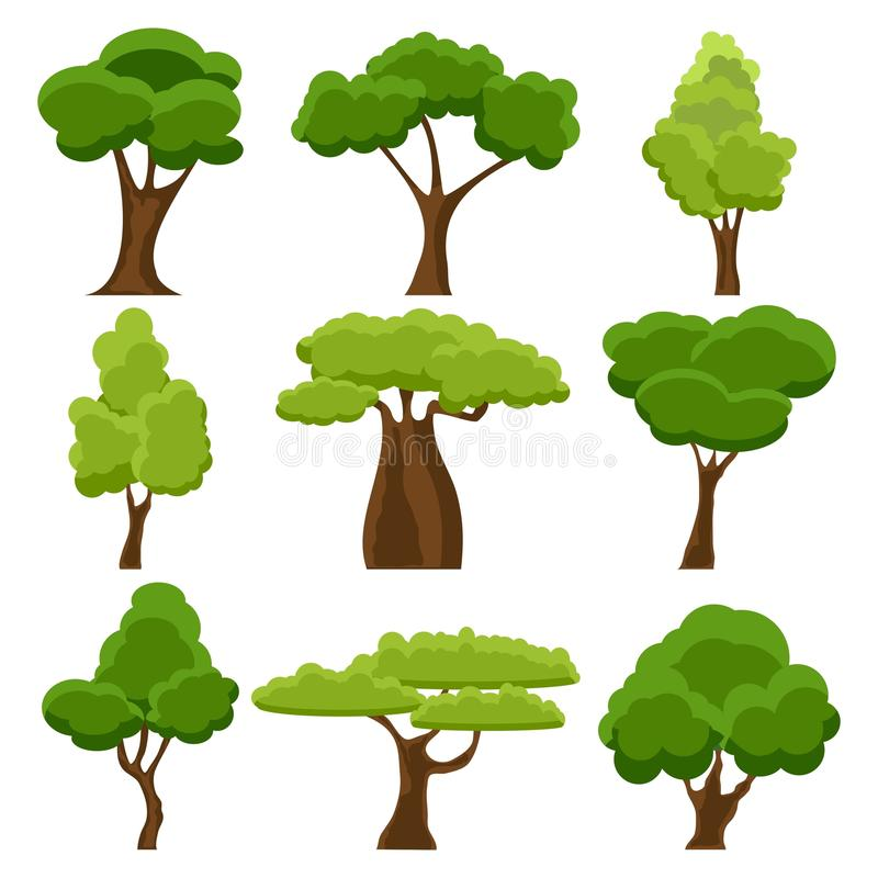 Set of flat stylized trees. Cartoon garden green tree. Nature environment organic forest and park. Spring or summer royalty free illustration