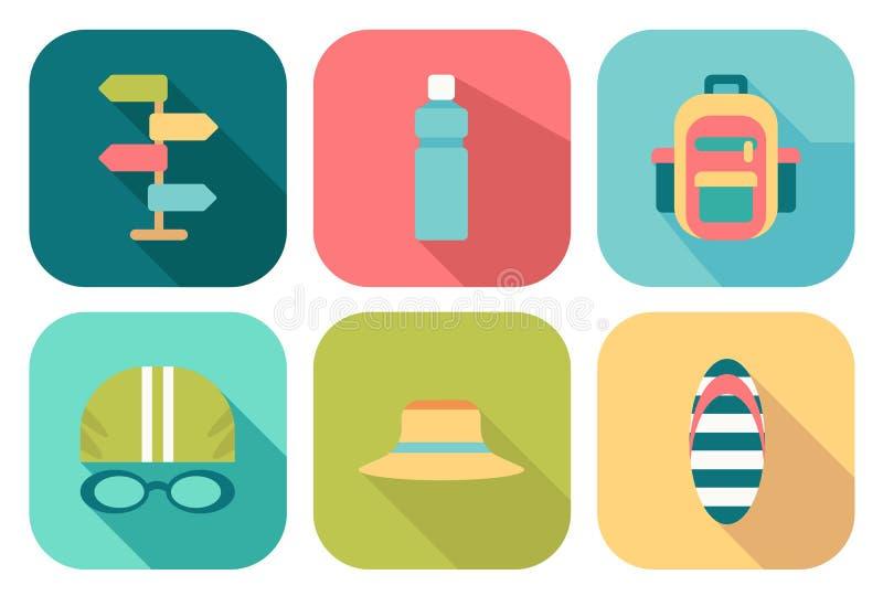 Set of flat summer icons vector illustration