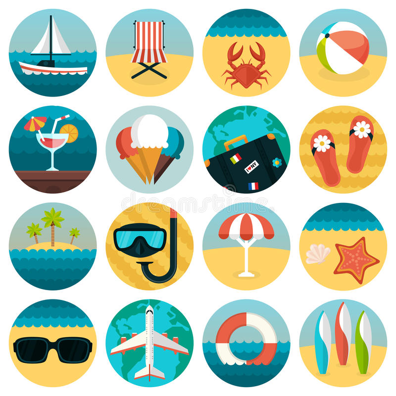 Set of flat summer rest icons combination. stock illustration