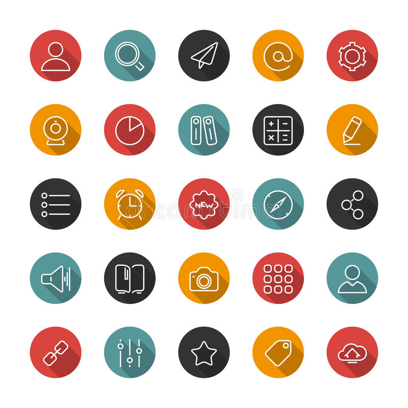 Set of flat thin icons. Style lines. Vector collection. Set of thin icons. Style lines. Vector collection for the user interface, web sites, mobile applications vector illustration