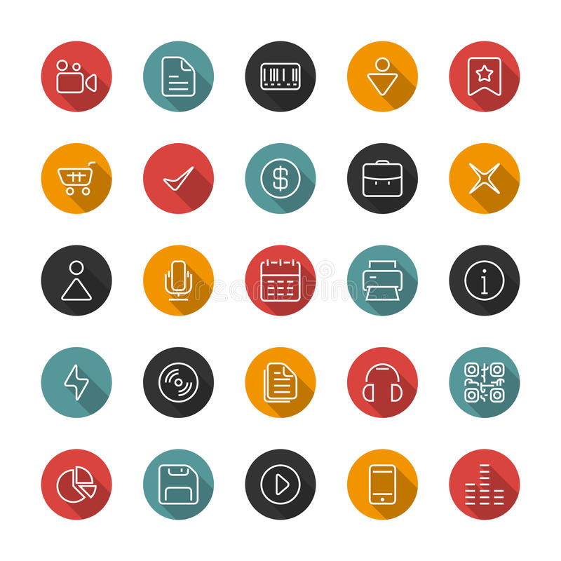 Set of flat thin icons. Style lines. Vector collection. Set of thin icons. Style lines. Vector collection for the user interface, web sites, mobile applications stock illustration