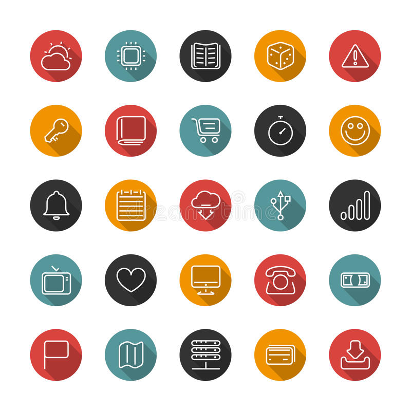 Set of flat thin icons. Style lines. Vector collection. Set of thin icons. Style lines. Vector collection for the user interface, web sites, mobile applications royalty free illustration