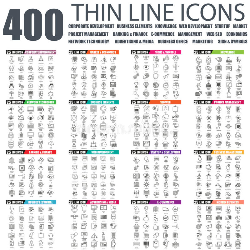 Set of flat thin line business web icons vector illustration