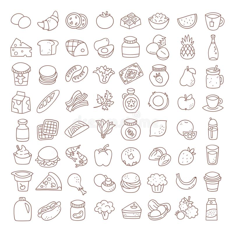 Set of flat thin line food icons. Vector elements. royalty free illustration