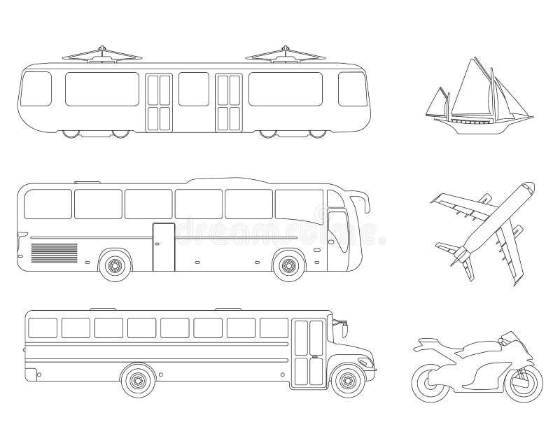 Set of flat urban transport icon. Outline Vector illustration stock illustration