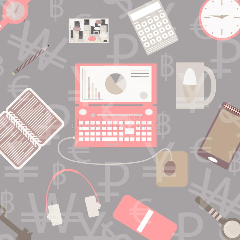 Set of Flat vector design illustration of modern business office and workspace. Top view of desk background with laptop, digital. Devices, office objects with stock illustration