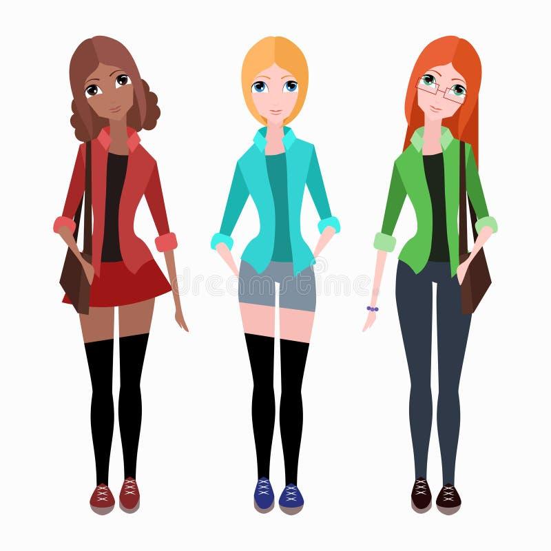 Set of flat vector hipster girls vector illustration