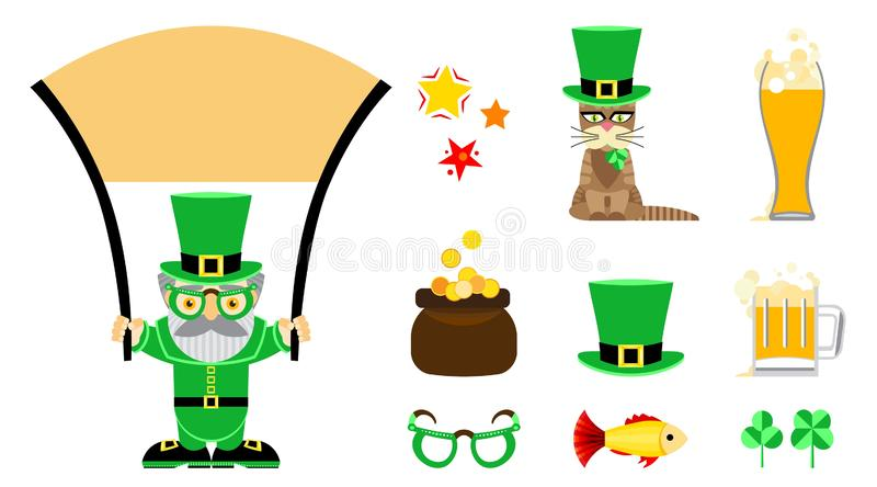 Set of flat vector icons for St. Patrick s Day. stock illustration