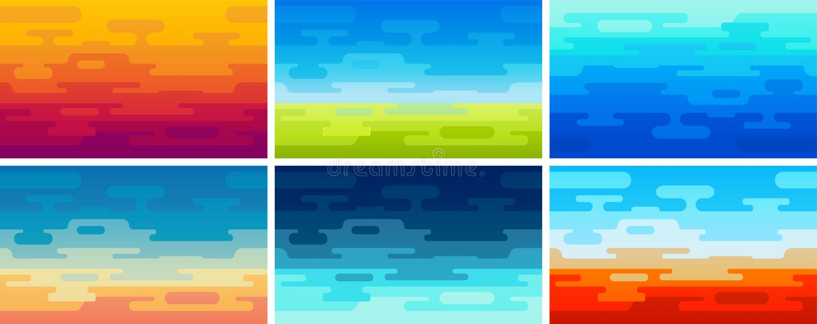 Set of Flat Vector Style Backgrounds in Different Colors and Ambience. Illustrations of Field, Ocean, Night and Sunset stock illustration