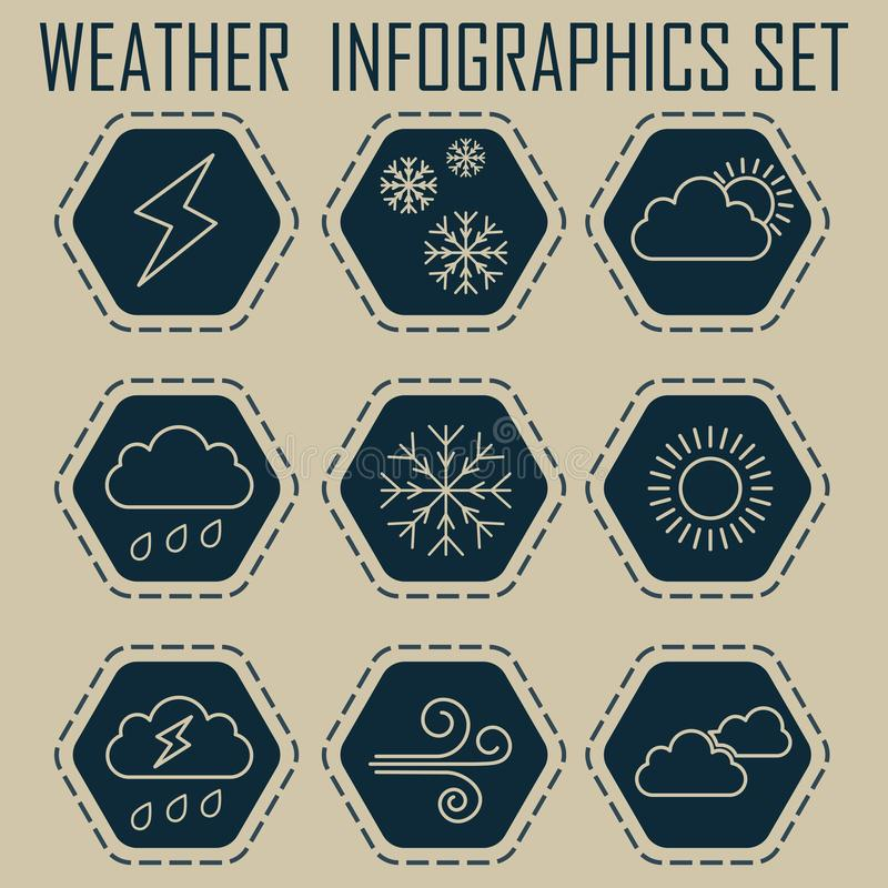 Set of flat weather icons. Hexagonal icons with dotted outlines. 9 elements. Stylish dark blue color stock illustration