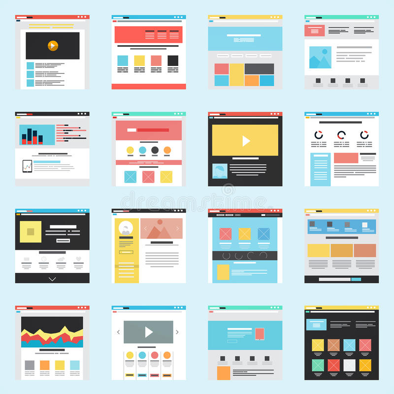 Set of Flat Website Templates. Navigation Elements and Icons. Vector vector illustration