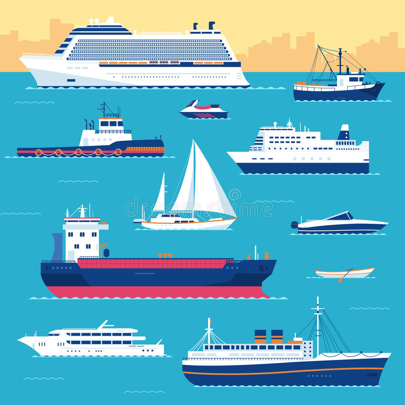 Set of flat yacht, scooter, boat, cargo ship stock illustration
