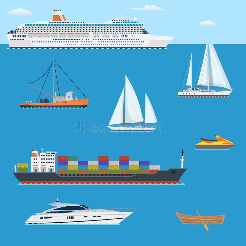 Set of flat yacht, scooter, boat, royalty free illustration