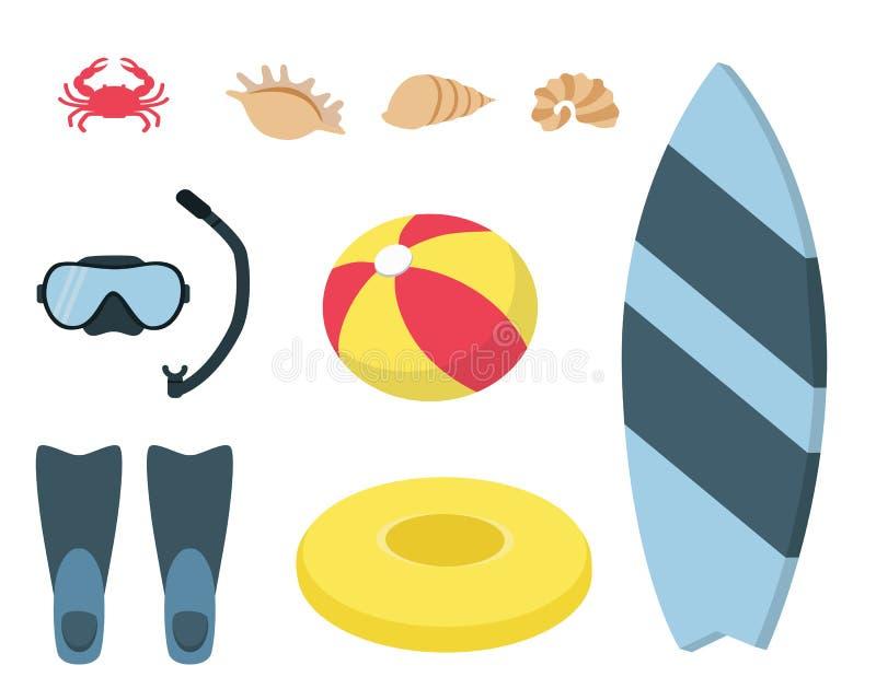Set flipper, maska, kipieli deska, balowy i pierścionek, royalty ilustracja