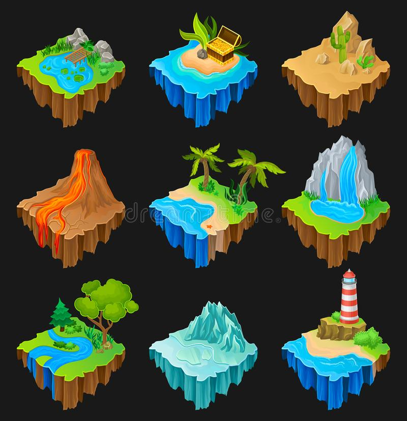 Set of floating platforms with different landscapes. Volcano with lava, desert with cacti, waterfall, island with vector illustration