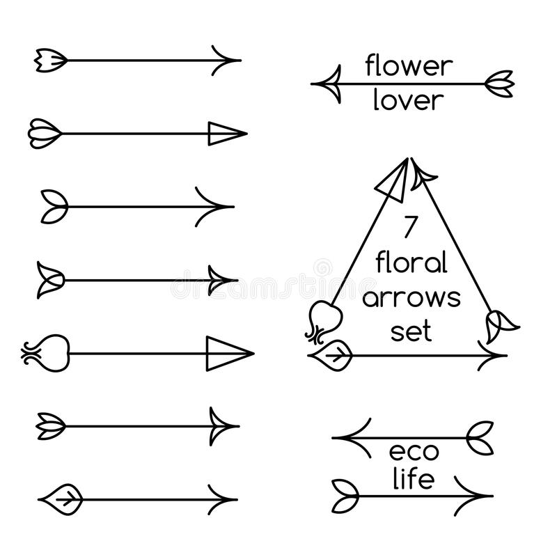 Set of floral arrows line art and logo examples vector illustration