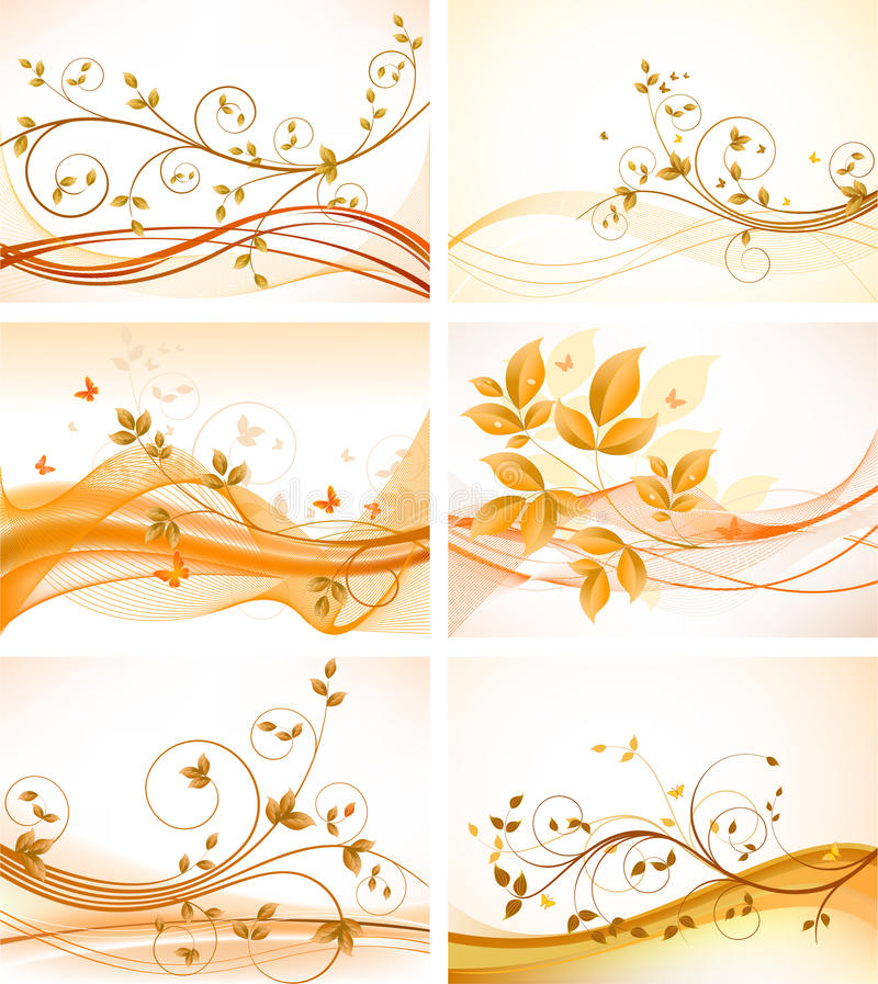 Set of floral backgrounds royalty free illustration