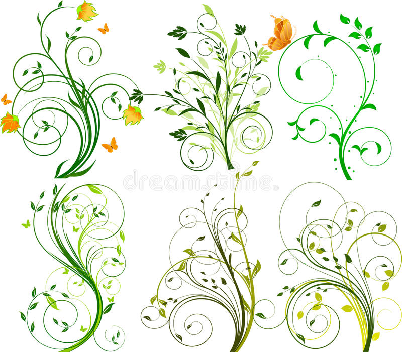 Set of floral backgrounds stock illustration