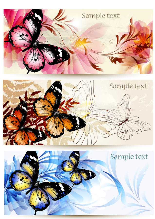 Set of floral banners with butterflies vector illustration