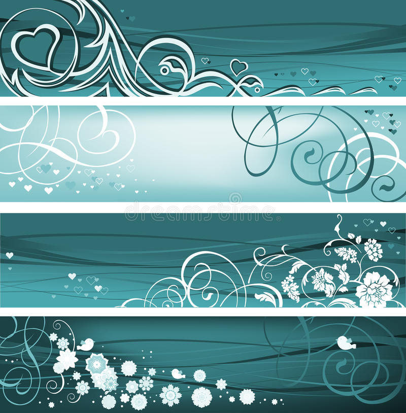 Set of Floral Banners. royalty free illustration