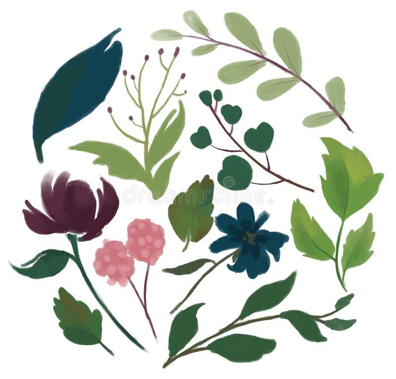 Set of floral branch bugundy marsala pink and navy blue flower v stock illustration
