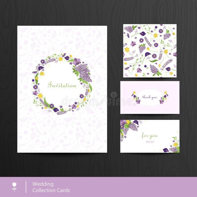 Set of floral cards. Wedding invitations. Vintage style. Vector. Illustration royalty free illustration