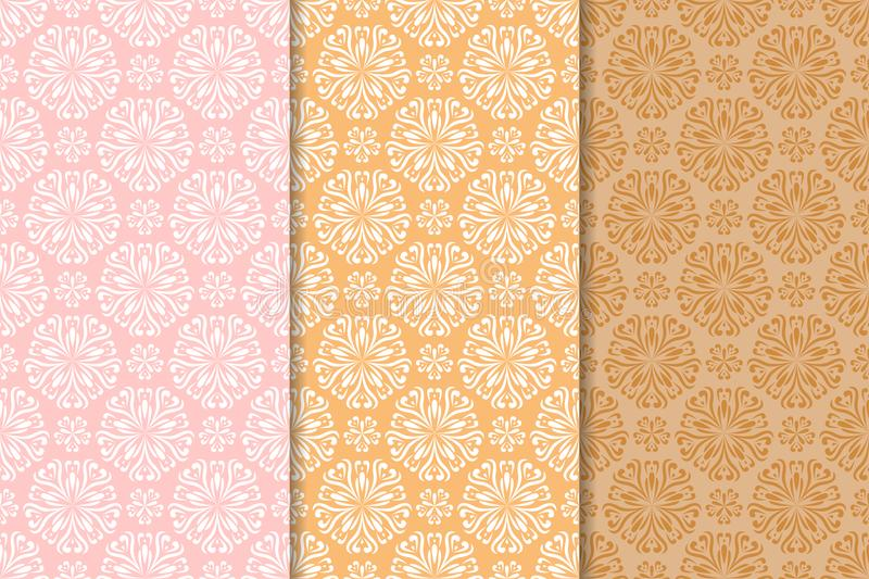 Set of floral colored seamless patterns. Pink and orange backgrounds vector illustration