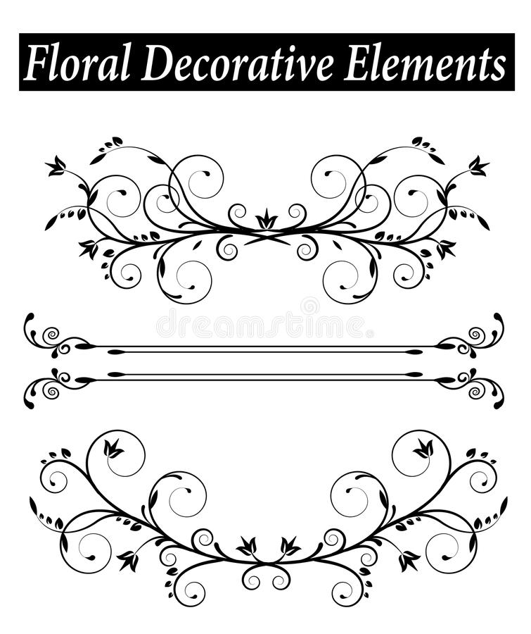Set Floral decorative element with swirls vector illustration