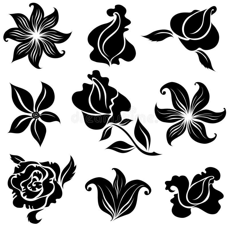 Set Of Black Flower Design Elements Stock Vector