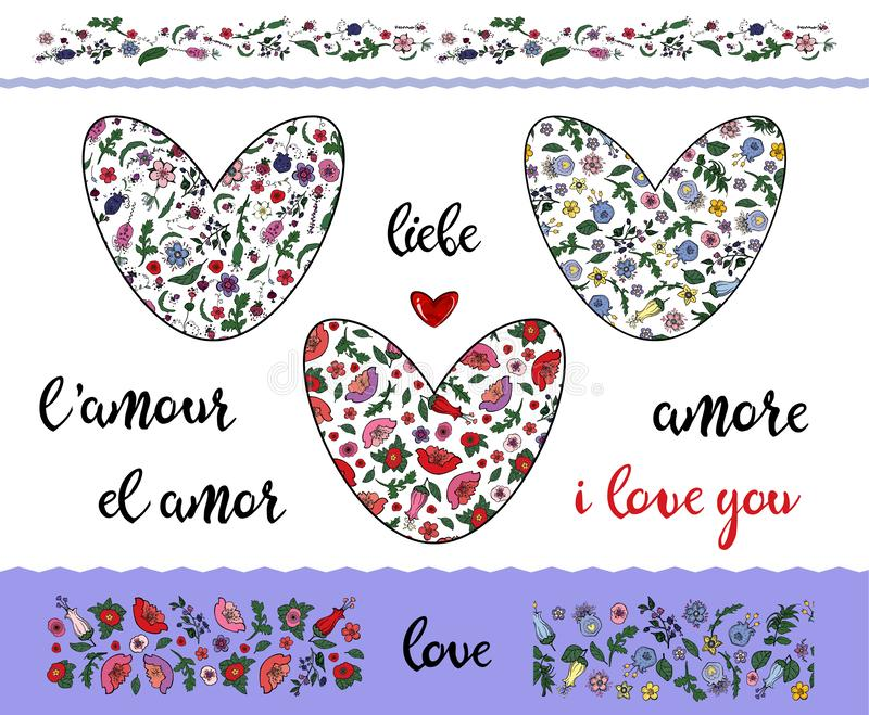 Set of floral doodling hearts with editable stroke on the transparent background. Borders and word love. Set of floral doodling hearts with editable stroke on vector illustration