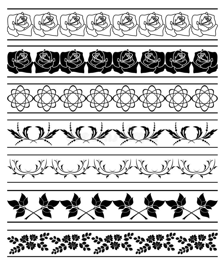 Set of floral elements of borders - vector vector illustration