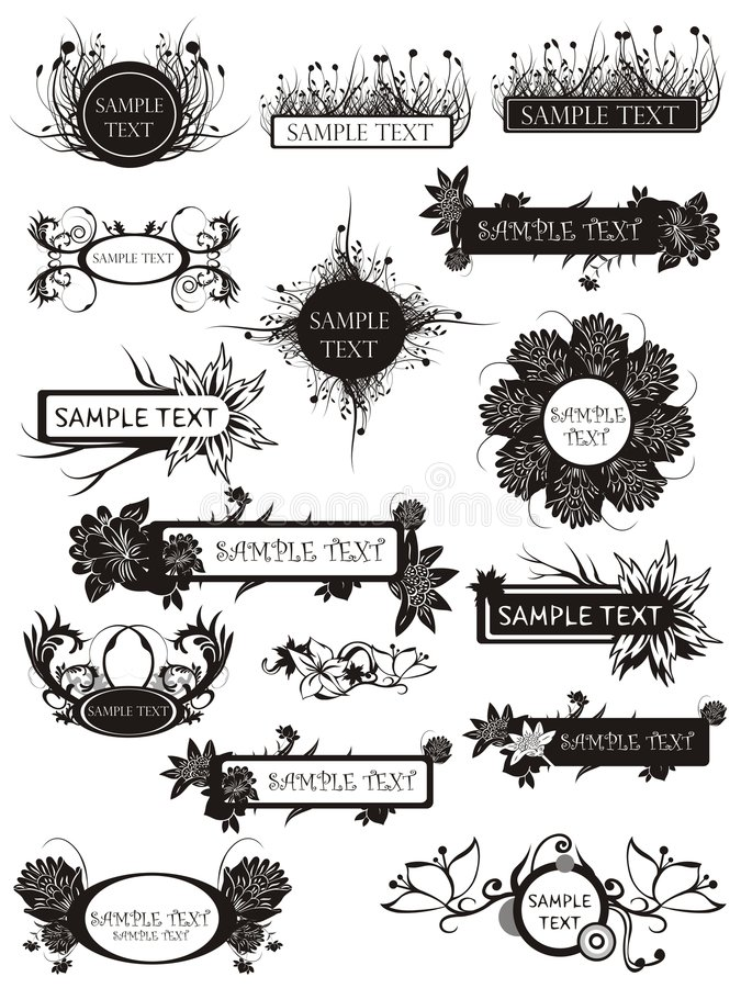 Set of floral elements and bunches royalty free illustration