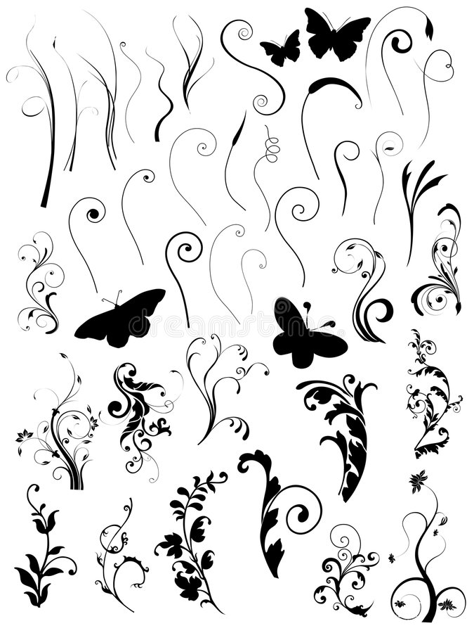 Set of floral elements and bunches vector illustration