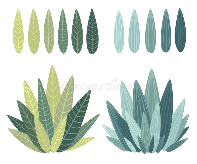 Set with floral elements and leaves.decorative elements for your design leaves swirls floral flat design style illustration vector illustration