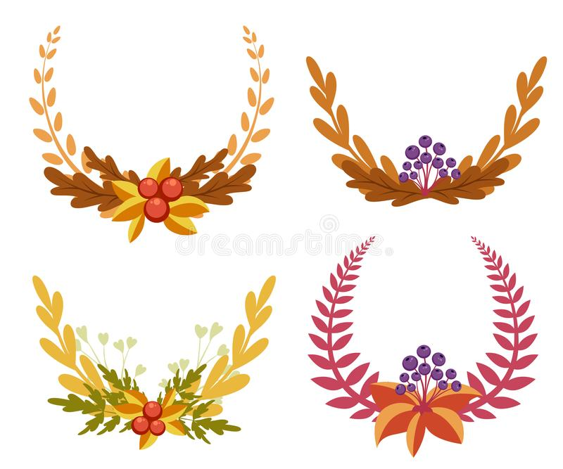 Set with floral elements and leaves.decorative elements for your design. Leaves, swirls, floral Flat design style illustrat stock illustration