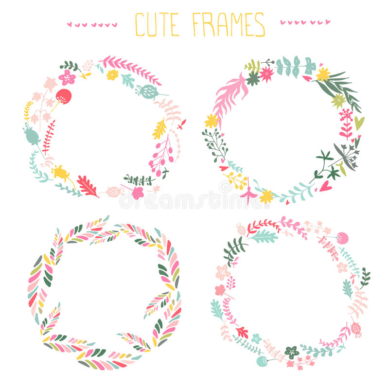 Set of floral frames. Set of vector floral frames. Cute collection of wreaths made of hand drawn leaves and flowers. Vintage set for invitations. save the date
