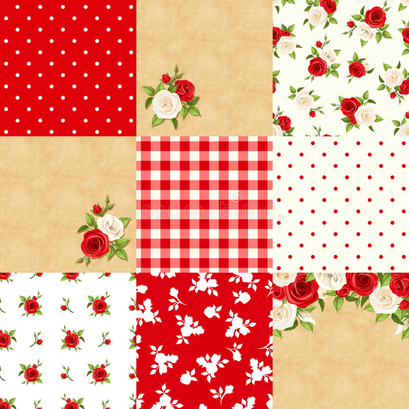Set of floral and geometric backgrounds. Vector illustration. royalty free illustration