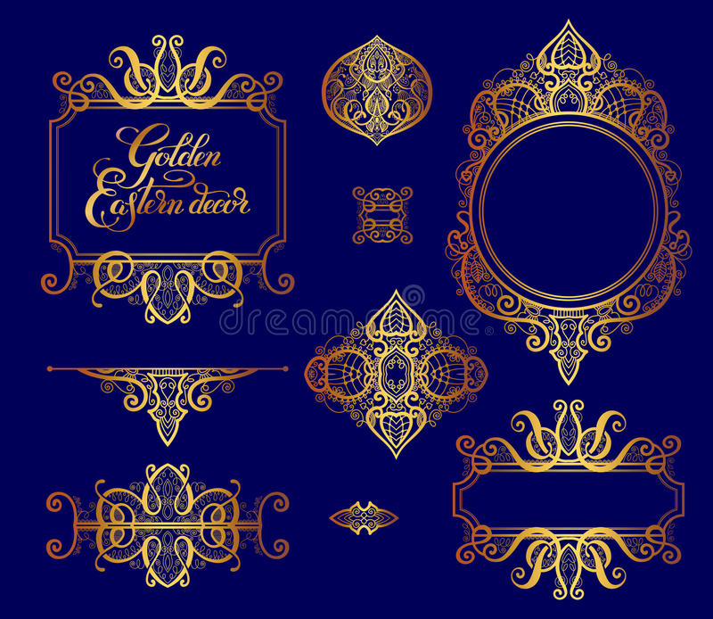 Set of floral golden eastern decor frame elements, paisley pattern collection. For wedding invitation, birthday greeting card, packaging, party flayer and other vector illustration