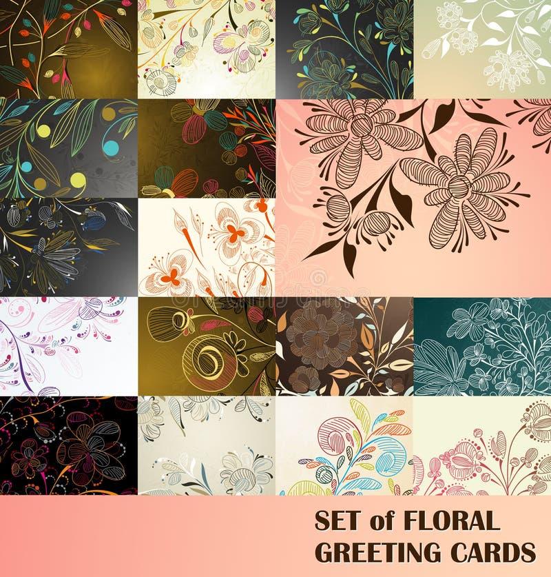 Set of floral greeting cards stock illustration