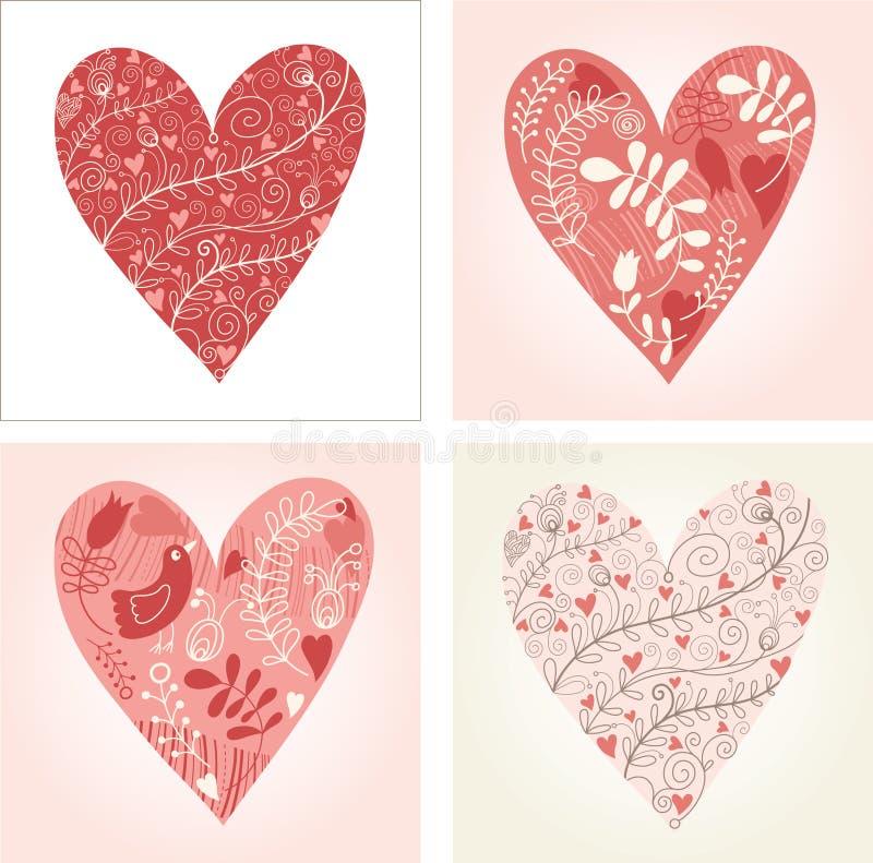 Set of floral hearts vector illustration