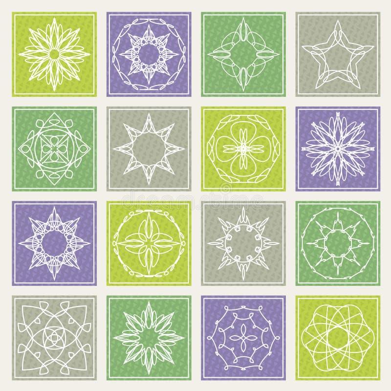 Set of floral monogram design. Line art elements. Vector illustration stock image