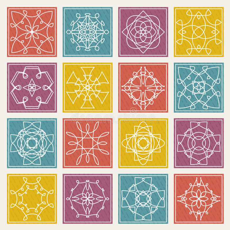 Set of floral monogram design. Line art elements. Vector royalty free stock image