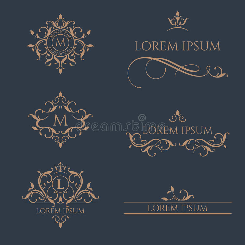 Set of floral monograms and borders. royalty free illustration