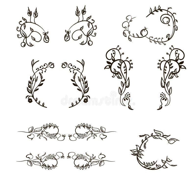 Set Floral Ornament Hand Drawn Simple Vintage Frames And Design Elements Vector Illustration