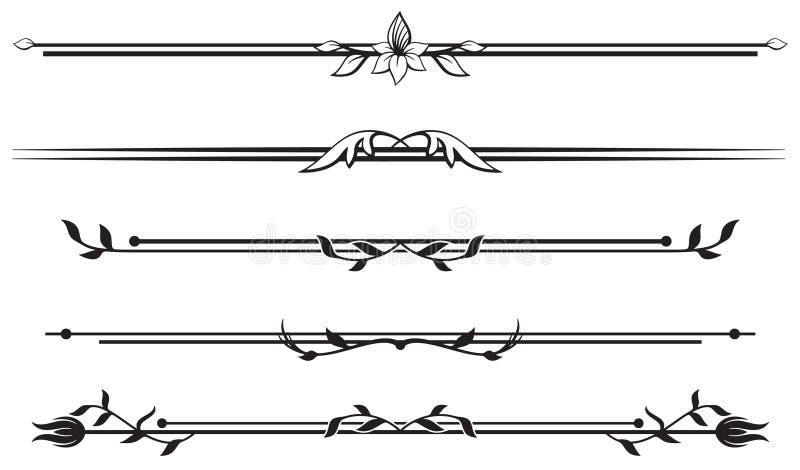 Set of floral ornamental rule lines royalty free illustration